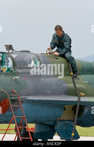 Croatian Air Force MiG-21 UMD trainer being refueled, Pleso AFB during 'open day' visit in 2007 - Stock Image