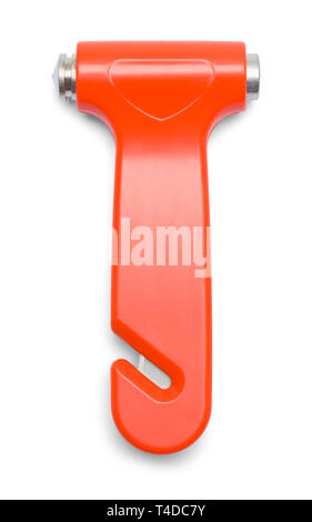 Orange Emergency Escape Hammer Isolated on White Background. - Stock Image