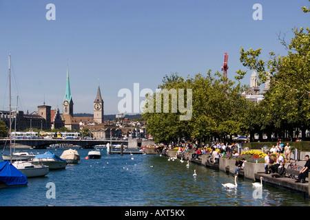 Switzerland Zuerich lake promenade autum CH Zuerich Seepromenade im Herbst - Stock Image