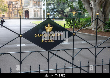 Entrance to Government house in Sydney, home of the Governor of New South Wales,Sydney,Australia - Stock Image