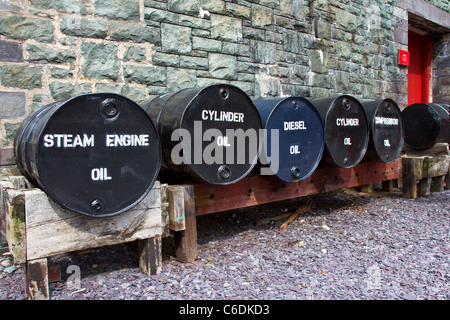 Oil tanks at Welsh National Slate Museum, Llanberis in Snowdonia national park, Wales. - Stock Image