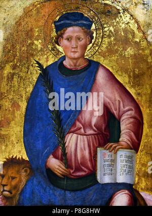 San Mamaso di Cesarea - Saint Mammes of Caesarea by Francesco de' Franceschi active 1443–1468 Italy, Italian. ( Marino di Caesarea was a military and Roman saint , martyr under Emperor Gallieno  ) - Stock Image
