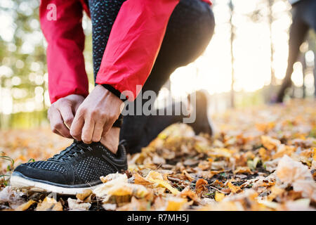 A midsection view of hands of female runner outdoors in autumn nature, tying shoelaces. - Stock Image