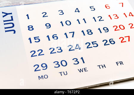 Wall Calendar June top view. Your may mark any day. - Stock Image