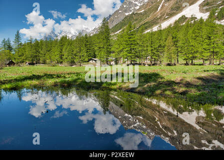 small lake in Val Ferret with trees mountains and clouds reflected in the water in spring season - Stock Image