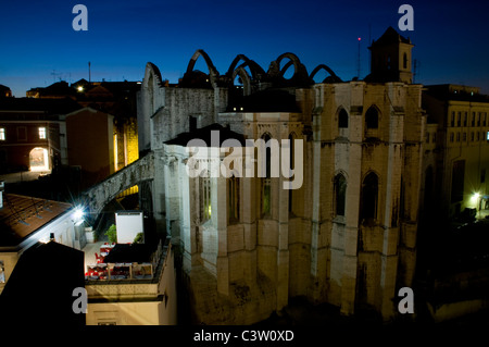 The Gothic Covento do Carmo and the neighbouring Bella Lisa restaurant seen from the top of Elevador de Santa Justa - Stock Image