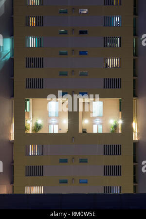 View of a building at night in Brisbane. - Stock Image