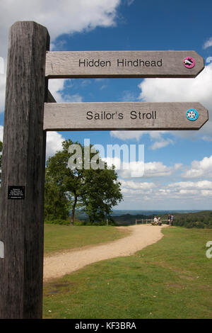 Devils Punchbowl, signposts for walkers, Hindhead, Surrey, England - Stock Image
