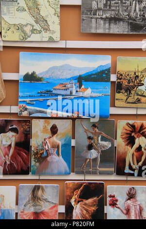 Market stall selling pictures, paintings and prints in Old Corfu Town, Corfu, GREECE, PETER GRANT - Stock Image