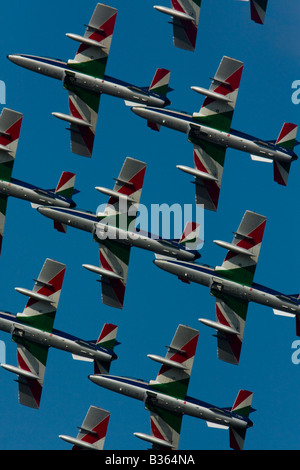 Aermacchi MB 339PAN of Italian Air Force Frecce Tricolori group precise flying shot during air show in Kecskemét - Stock Image