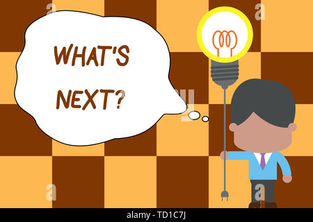 Conceptual hand writing showing What S Next Question. Concept meaning Get information Ask Query Investigate Probes Explore Standing man tie holding pl - Stock Image