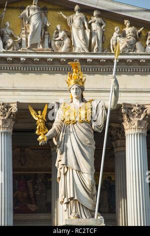 Pallas Athena statue at the Parliament Building, Vienna, Austria. - Stock Image