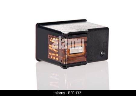 Inkjet printer cartridge isolated on a white background - Stock Image