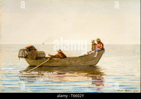 Winslow Homer, Three Boys in a Dory with Lobster Pots, painting, 1875 - Stock Image