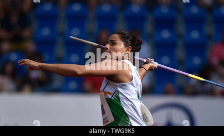 Ostrava, Czech Republic. 20th June, 2019. Annu Rani (India) competes in javelin throw during the Ostrava Golden Spike, an IAAF World Challenge athletic meeting, in Ostrava, Czech Republic, on June 20, 2019. Credit: Jaroslav Ozana/CTK Photo/Alamy Live News - Stock Image