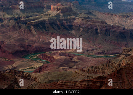 The Colorado River winds through the Grand Canyon in Arizona, USA - Stock Image