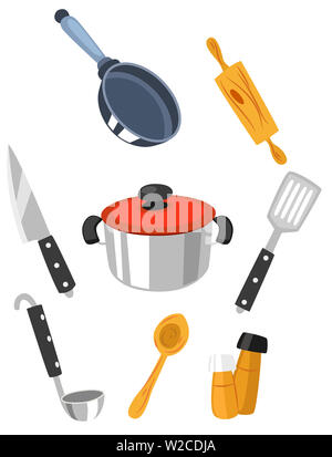 kitchen utensils set various equipment food illustration - Stock Image