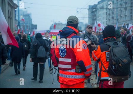 Warsaw, Poland, 11 November 2018: Paramedics during celebrations of Polish Independence Day - Stock Image