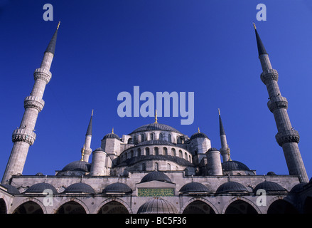 Wide angle shot of minarets and domes of Sultanahmet Camii (the Blue Mosque) - Stock Image