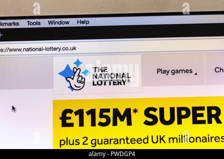 The National Lottery website UK, UK National Lottery website, National Lottery website UK, National Lottery, website, UK, UK Lottery, National lottery - Stock Image