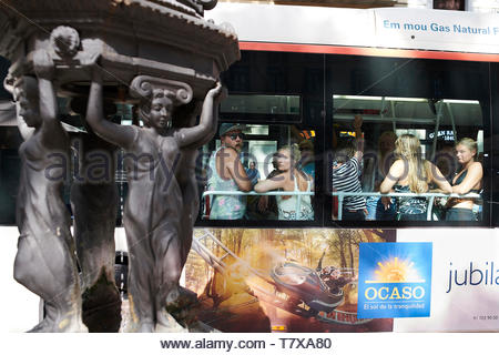 Bus on La Rambla Street in the City of Barcelona in Catalunya in Spain in Europe - Stock Image
