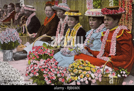 Honolulu, Hawaii, USA - Flower Sellers. - Stock Image