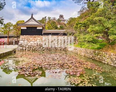 Moat and gatehouse of Kochi Castle, Japan, with the main keep behind. - Stock Image