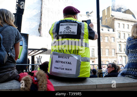 Yellow vests UK joined a pro brexit protest in central London - Stock Image