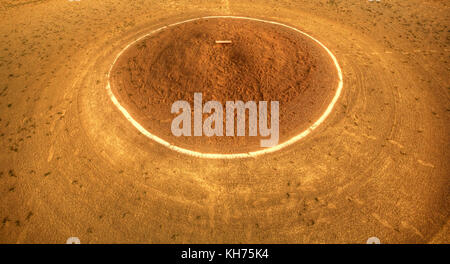 Pole aerial High Dynamic Range (HDR) image of a baseball pitcher's dirt mound with pitching slab, white chalk - Stock Image
