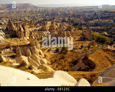 View over rock formations near Goreme in Cappadocia - Stock Image