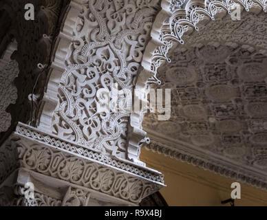 Exhibit inside Palacio de la Condesa de Lebrija, a 15th century mansion with mudejar, roman and Sevillian influences, Seville, Spain - Stock Image