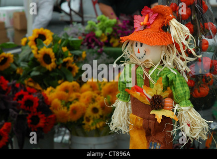 Farmers Market Scarecrow & Sunflowers - Stock Image
