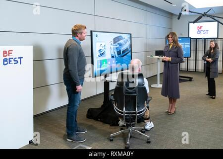 U.S First Lady Melania Trump listens to an Xbox adaptive controller presentation by Dave McCarthy, Microsoft Corporate Vice President of Xbox Operations at the Microsoft Executive Briefing Center March 4, 2019 in Redmond, Washington. - Stock Image