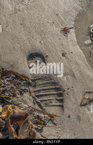 Human footprint on sandy beach. - Stock Image