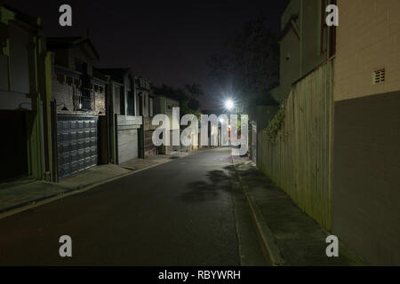 back street at night - Stock Image