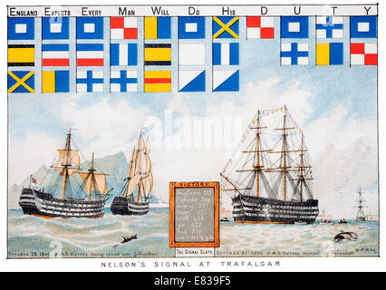 Lithograph of Nelson's signal at Trafalgar. England Expects Every man will do his duty - Stock Image