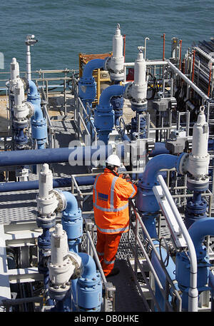 An employee of energy company Wintershall works on offshore platform L8 P4 gaining natural gas offshore Den Helder, - Stock Image