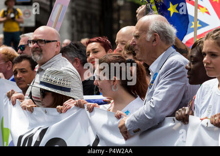 London, UK. 23 June 2018.Anti-Brexit march and rally for a People's Vote in Central London. Sir Vince Cable, leader of the Liberal Democrats on the march. - Stock Image