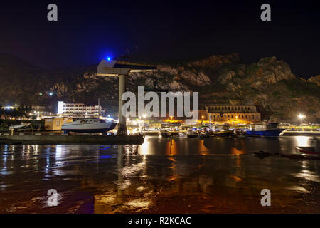 Buggerru, Sardinia. Night on the port of buggerru along the South West coast of Sardinia. Long exposure. - Stock Image