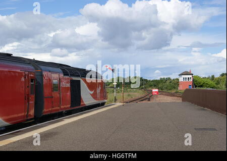 HST sits in Leuchars station in July 2016 branded in Virgin Trains East Coast livery & carrying the #LforLewis - Stock Image