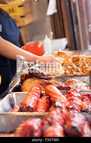 street food festival chicken fried food - Stock Image