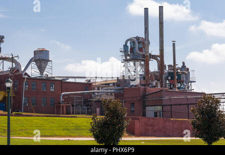 HICKORY, NORTH CAROLINA,  USA-9/1/18:  Buildings, dust collection and exhaust vents at Hickory Manufacturing Co., a wood furniture maker. - Stock Image