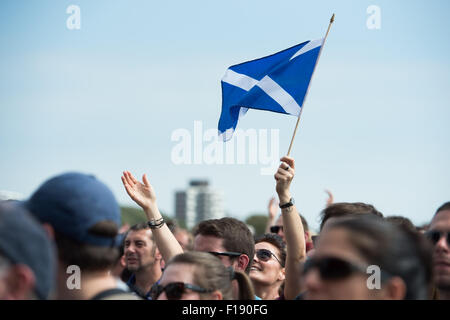Portsmouth, UK. 29th August 2015. Victorious Festival - Saturday. A Scottish flag flies in the Victorious Festival - Stock Image
