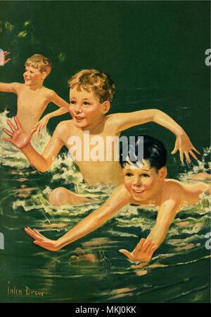 Boys Swimming - Stock Image