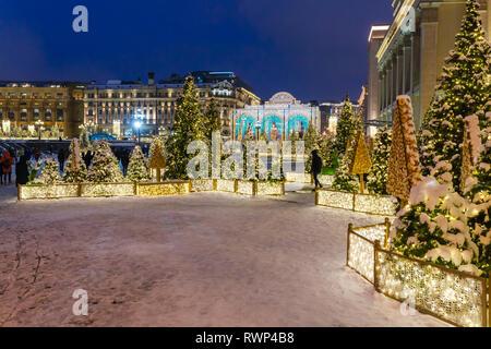 Christmas illumination on Manezh square, Moscow, Russia - Stock Image