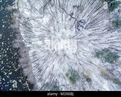 Aerial top view of winter forest and ice drift on the river - Stock Image