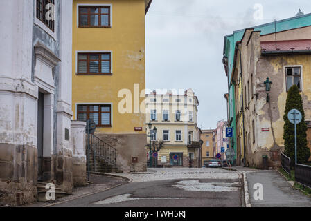 Street on the old part of Broumov town in Nachod District of Czech Republic - Stock Image