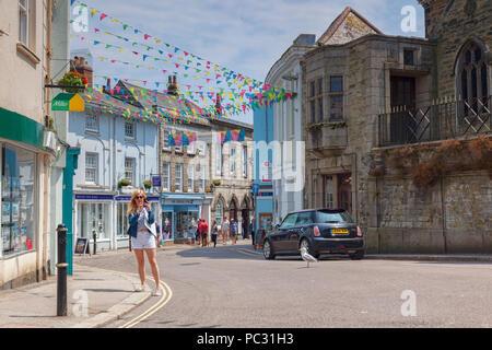 12 June 2018: Falmouth, Cornwall, UK - Arwenack Street - Stock Image