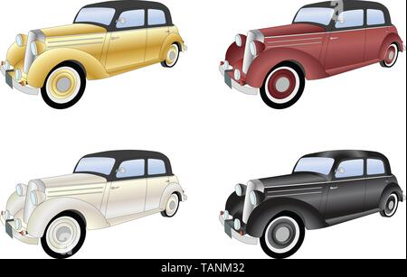 old timer vintage car - vector illustration - Stock Image
