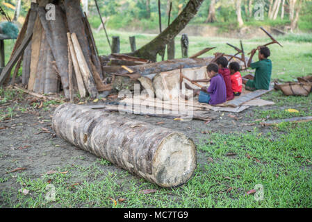 Boys of the Insect People scraping a sago palm trunk, Swagup village, Upper Sepik, papua New Guinea - Stock Image